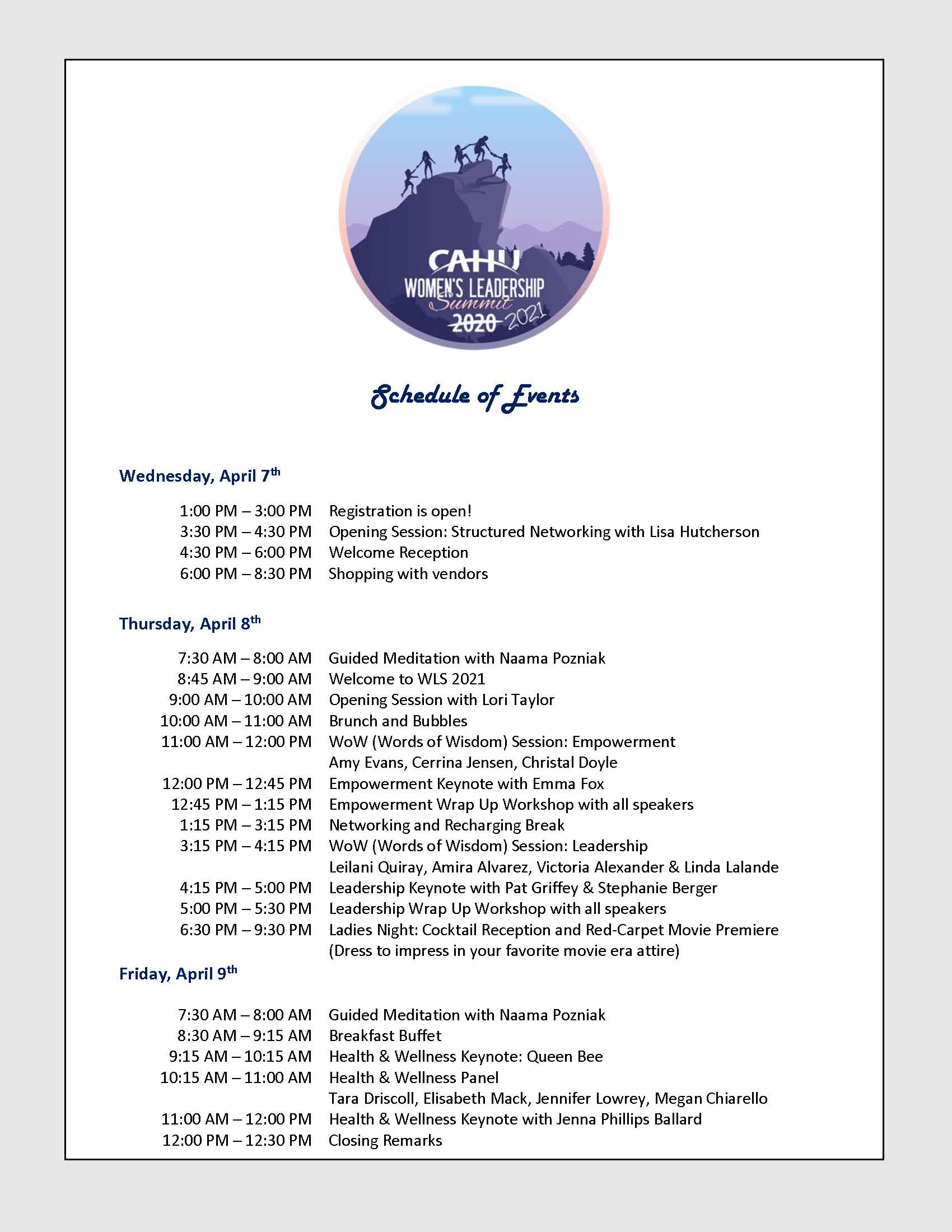 WLS 2021 Schedule of Events