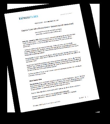 ExpressTubes Press Release